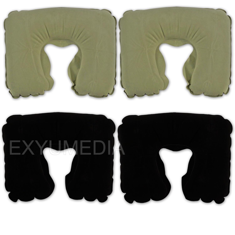 4x komfort nackenkissen aufblasbar kissen reise flug nackenh rnchen kopfkissen ebay. Black Bedroom Furniture Sets. Home Design Ideas