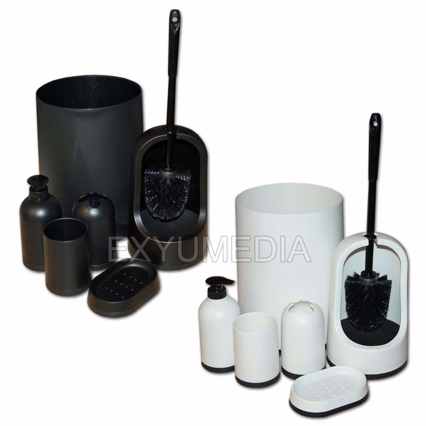 gro es badeset wc klo b rste seifenspender schale abfall eimer kosmetikeimer ebay. Black Bedroom Furniture Sets. Home Design Ideas