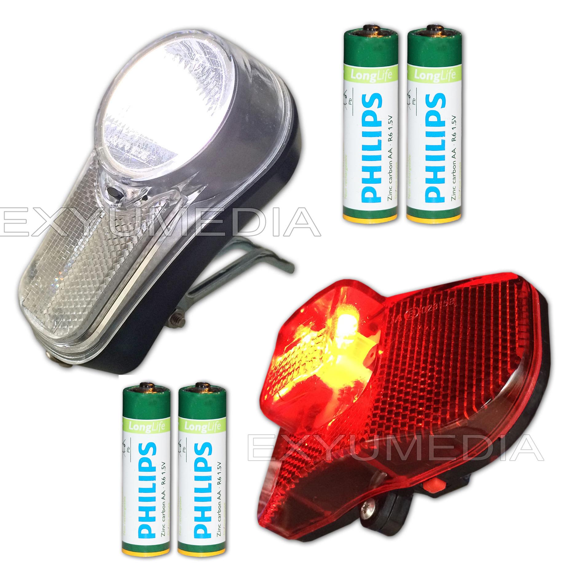 led fahrrad beleuchtung stvzo batterien scheinwerfer r ckleuchte fahrradlampe ebay. Black Bedroom Furniture Sets. Home Design Ideas