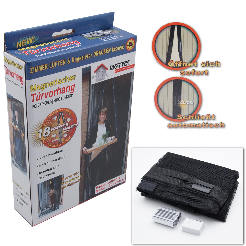 insektenschutz t r t rvorhang 210x100 magnetisch fliegengitter schwarz magnet ebay. Black Bedroom Furniture Sets. Home Design Ideas