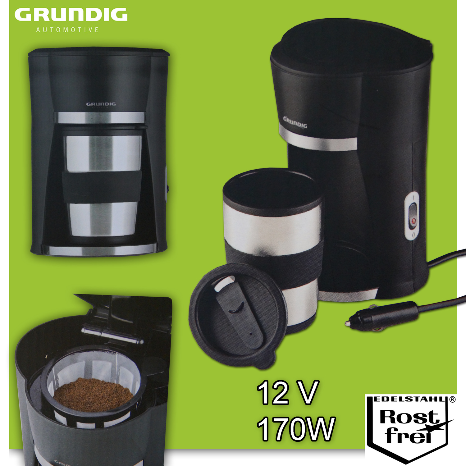12v grundig auto kaffeemaschine inkl becher boot 12 volt. Black Bedroom Furniture Sets. Home Design Ideas