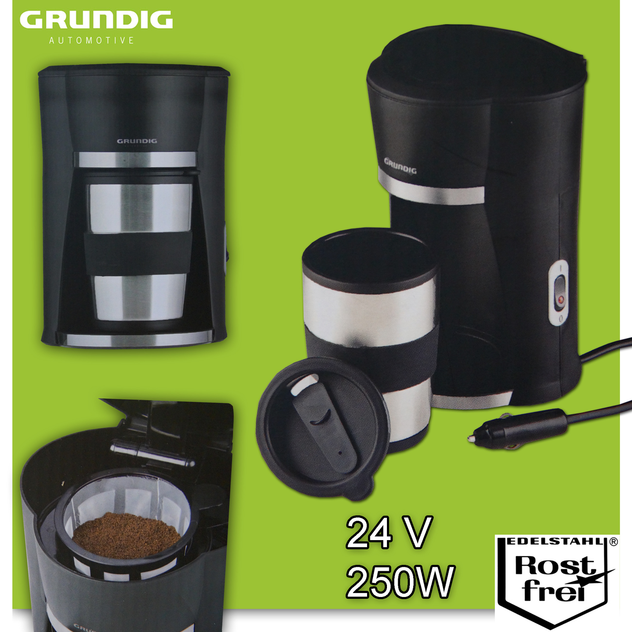 24v grundig kaffeemaschine inkl becher boot trucker. Black Bedroom Furniture Sets. Home Design Ideas