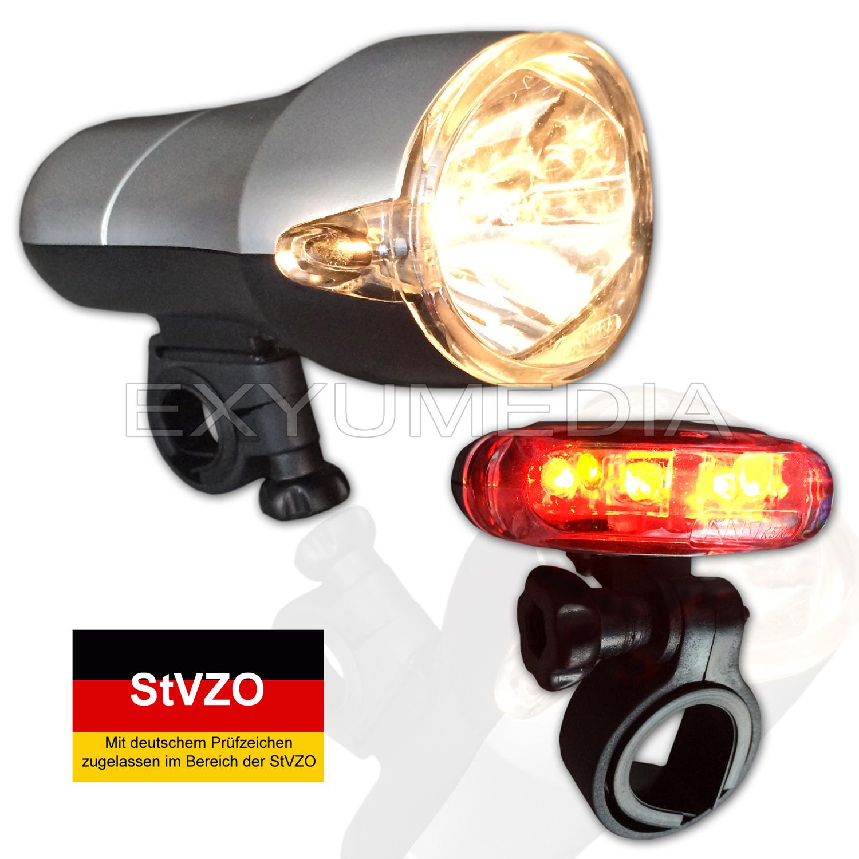 stvzo fahrradbeleuchtung set halogen led hochwertig fahrradlampe fahrradleuchte ebay. Black Bedroom Furniture Sets. Home Design Ideas